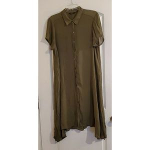 Mlle Gabrielle Green Button Front Tunic Dress